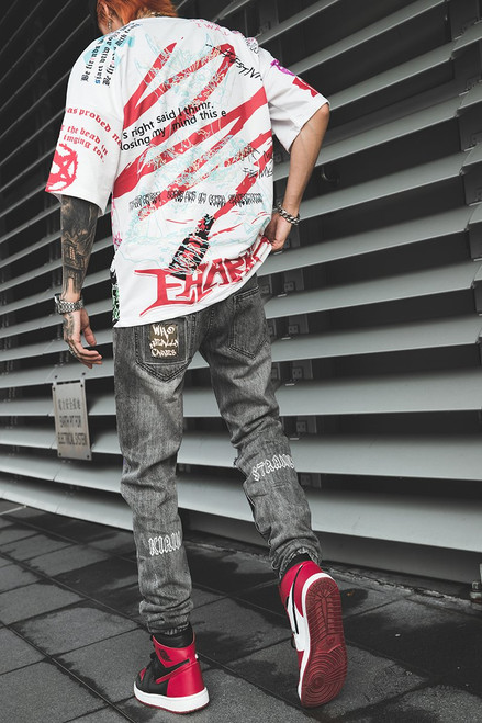 Hip Hop Jogger Denim Pants Skinny Washed Distressed