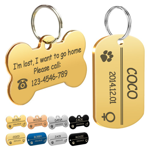 Personalized Dog ID Tag Stainless Steel Customized