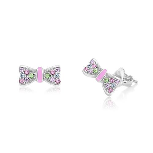 Crystal Pink Enamel Bow Screwback Earrings