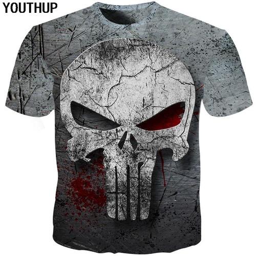 3D Skull T-Shirt for Men Homme Punisher