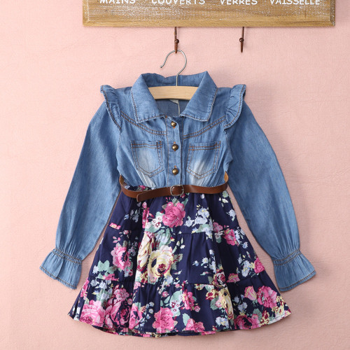 Baby Girl's Floral Dress DenimLong