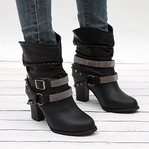 Women's Boots Autumn High Heels Shoes Rivet