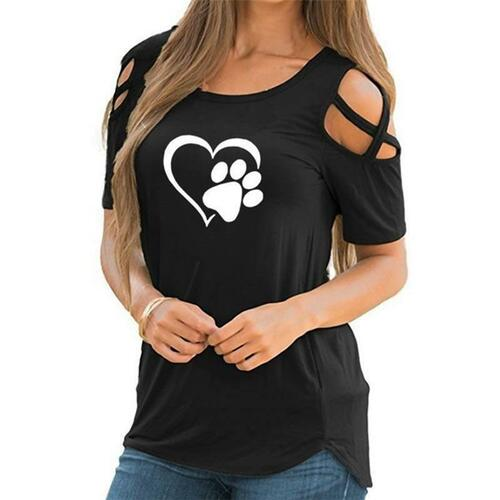 Harajuku lovely heart Causal T-shirt Bear paw Tees