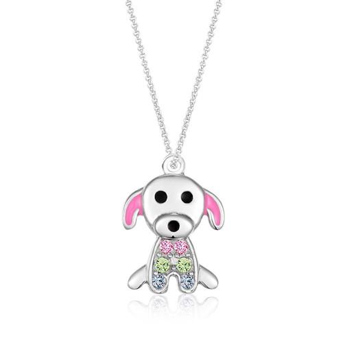 Crystal Pink Enamel Dog Pendent