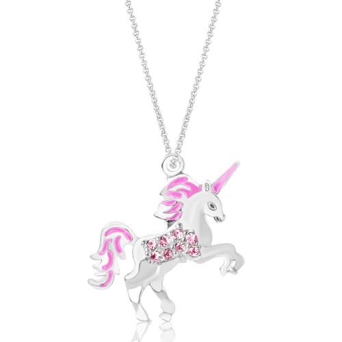 Crystal Enamel Unicorn Pendant