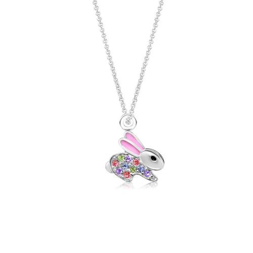 Crystal Pink Enamel Bunny Pendant