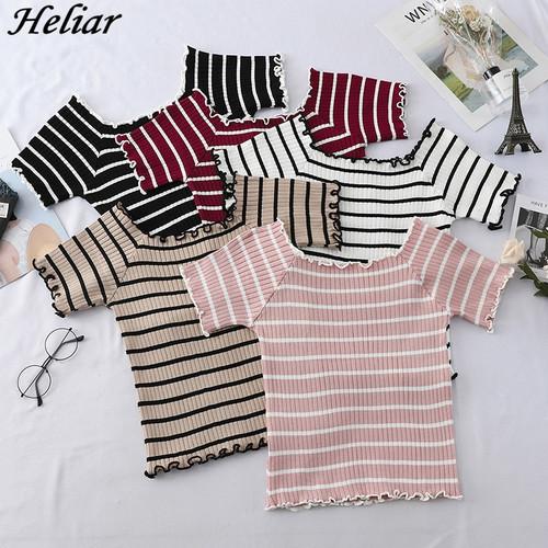 Women's T shirt O Neck Knitting Strips Square Neck
