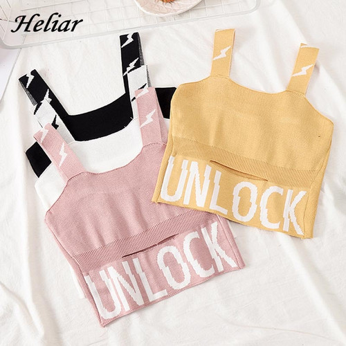 Camisole Knitting Camis Crop Top Letter Cotton