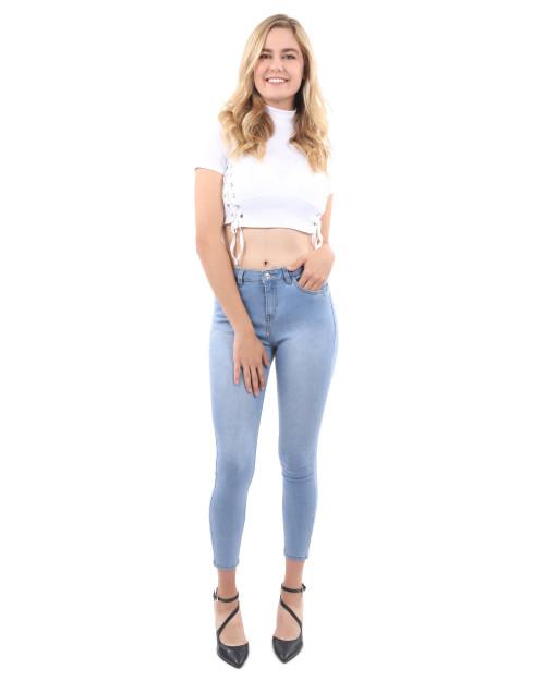 Talus High Waist Skinny Jeans - Light Blue
