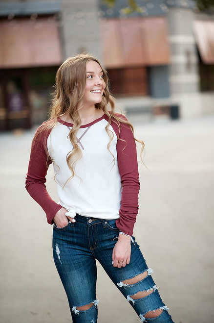 Long sleeve Thermal Baseball Tee in Ivory & Red