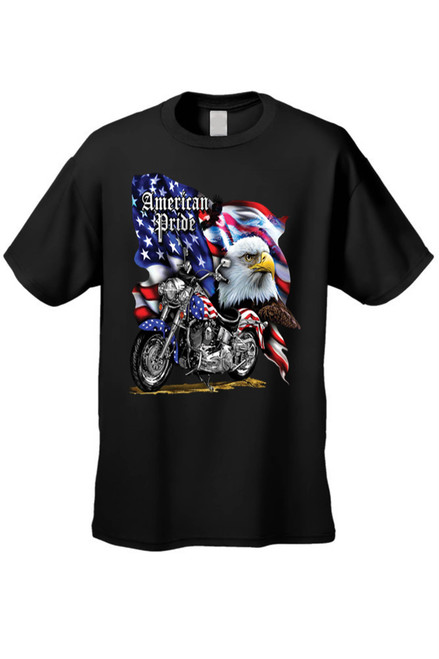 Men's/Unisex T Shirt USA Flag American Pride Motorcycle Short Sleeve