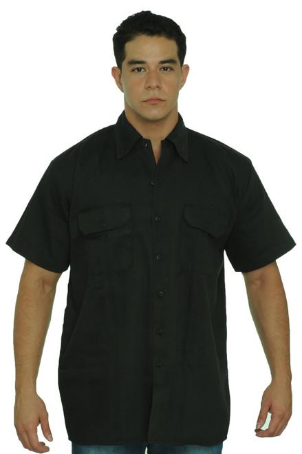 Men's Basic Mechanic Work Shirt Front Button Up Biker Short Sleeve