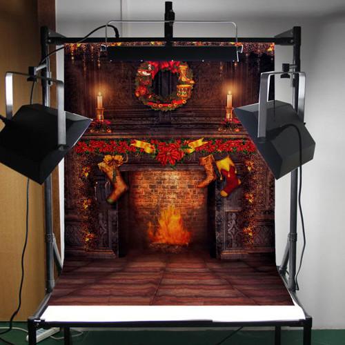 5x7ft Vinyl Christmas Fireplace Art Photography Backdrop