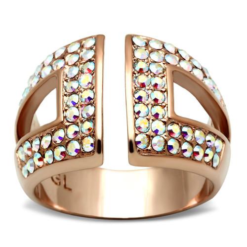 Rose Gold(Ion Plating) Brass Ring w/Diamond Design
