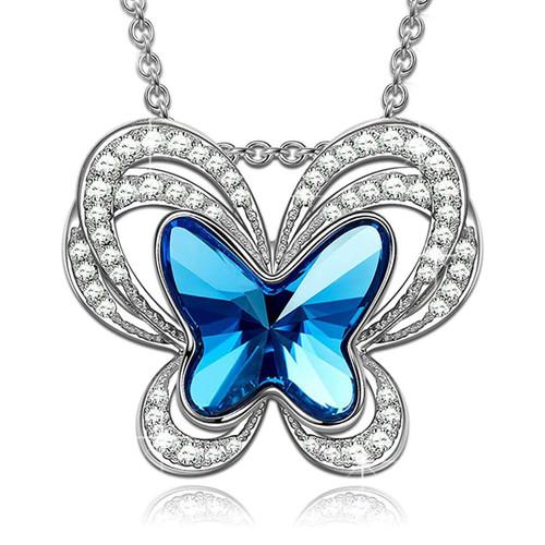 Blue Topaz Butterfly Necklace