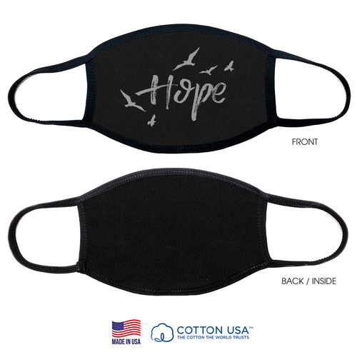 100% Cotton Hope with Bird Black Face Mask