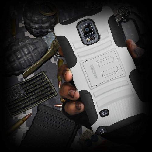 AMZER® Hybrid Kickstand Case - Black/ White for Samsung GALAXY Note 4