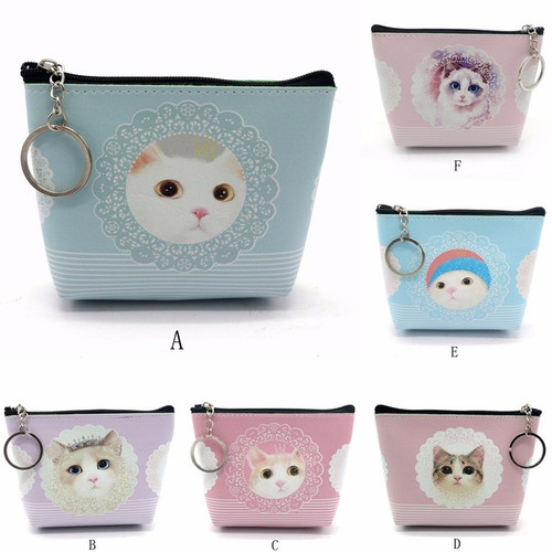 Coin Purse in Leather Cat Design