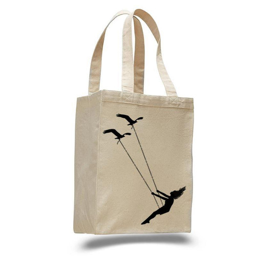 Flying bird swing - cotton canvas natural tote bag