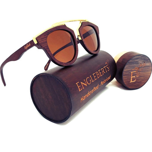 Cherry Wood Full Frame, Polarized w/Metal Trim & Bamboo Case