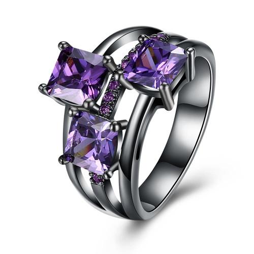 3-Stone Purple Swarovski Elements Asscher Cut Black Rhodium