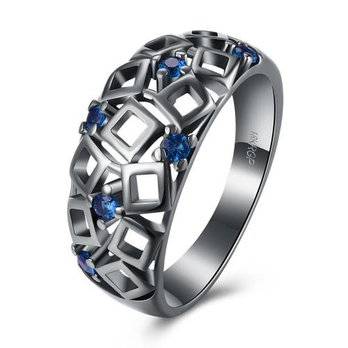 Vintage Black Gold Blue Geometrical Cutout Ring w/Swarovski