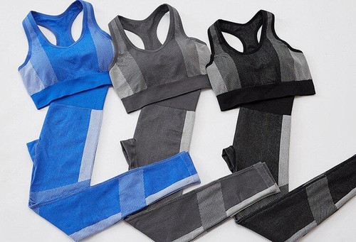 Striped Patchwork Yoga Suit Gym Fitness 2pc