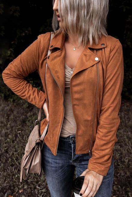 Women's Brown Moto Suede Lapel Collar Zipper Long Sleeve Jacket