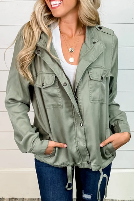 Casual Olive Utility Double Chest Pockets Jacket