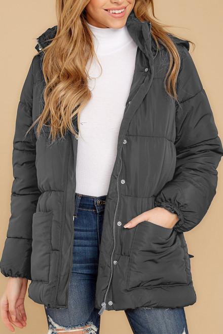 Women's Gray Winter Puffer Jacket