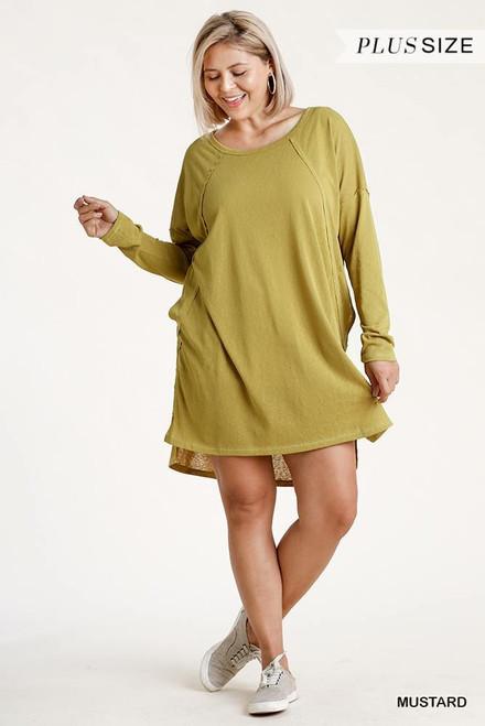 Long Raglan Sleeve Round Neck Raw Edged Detail Dress w/Side Slits
