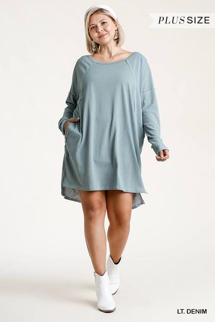 Long Raglan Sleeve Round Neck Edged Detail Dress w/Side Slits