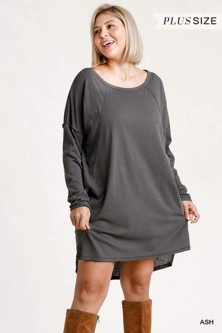 Long Raglan Sleeve Round Neck Raw Detail Dress w/Side Slits
