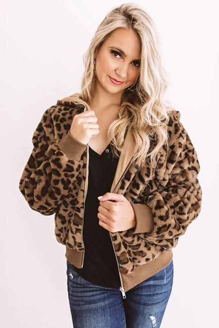 Fashion Women's Cozy Plush Leopard Jacket