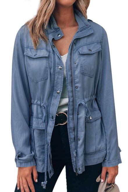 Fashion Sky Blue Pockets Front Zipper Buttoned