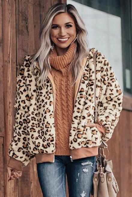 Women's Khaki Cozy Plush Leopard Winter Jacket