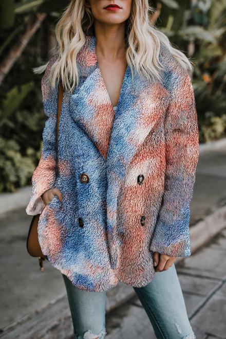 Winter Orange Blue Tie Dye Lapel Collar Open Front Fleece Coat