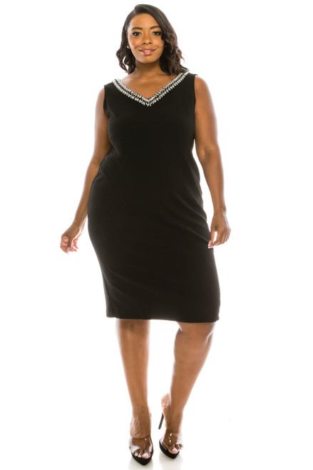 Maya Brooke Black Beaded 2pc Dress Suit (Plus Size)