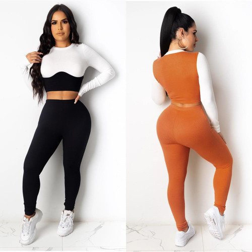 Seamless Yoga Tracksuit for Women Color Patchwork Long Sleeve
