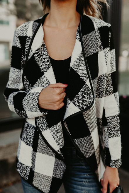 Black Plaid Long Sleeve Asymmetric Collar Open Front Coat