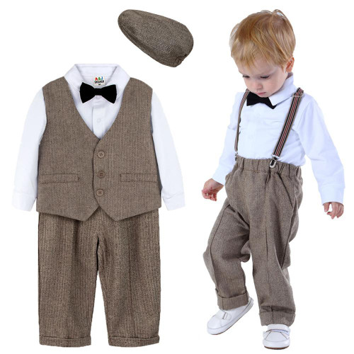Suit Infant Formal Outfit Newborn Long Sleeve Overalls