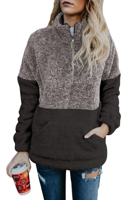 Women's Gray Taupe Zip Neck Oversize Fluffy Fleece Pullover