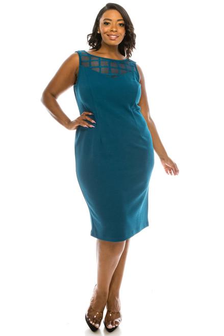 Maya Brooke Peacock Transparent Grid Crepe Design Dress Suit