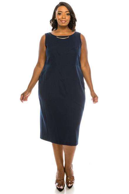 Maya Brooke 2pc Navy Dress Suit (Plus Size)