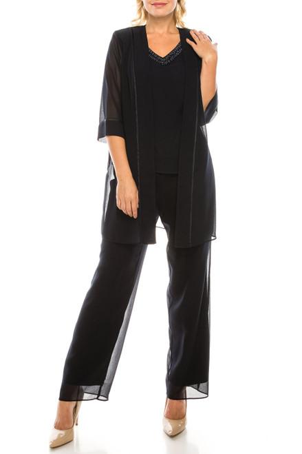 Dark Navy Crepe Chiffon 3 Pant Suit