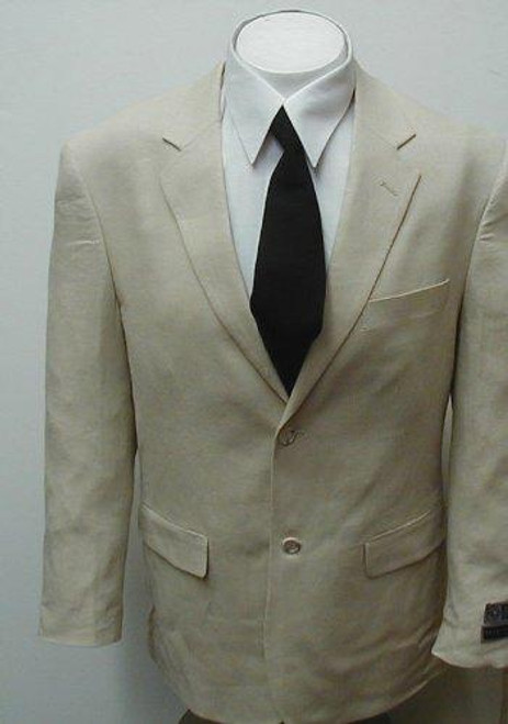 Men's 100% Linen 2 Button Tan/Beige Dress Suit