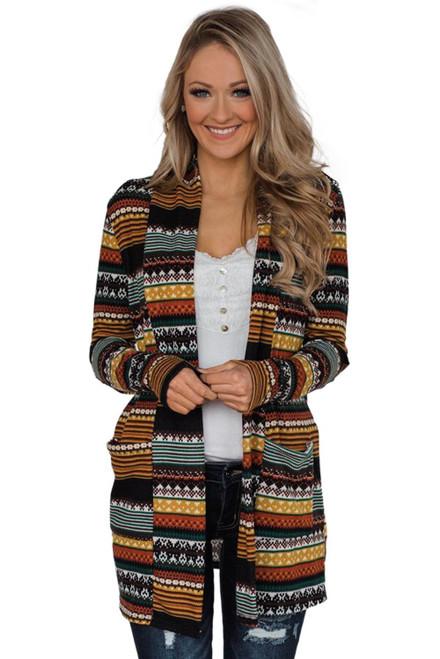 Multicolor Unforgettable Tribal Printed Cardigan Coat