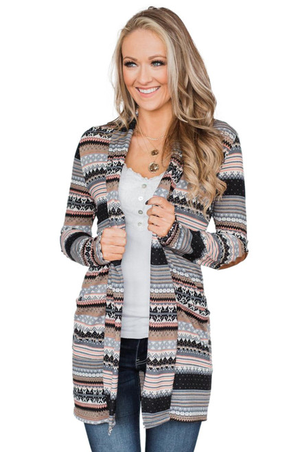 Gray Unforgettable Tribal Printed Cardigan Coat
