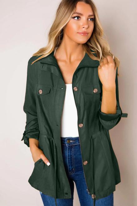 Super Chic Green Bottoned Pockets Jacket