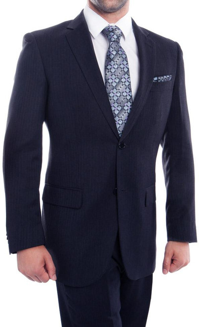 Men's 2 Button Navy Blue Wool Dress Suit